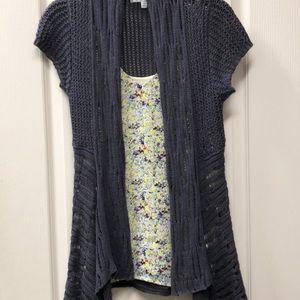 CAbi Asymmetrical Blue/Gray Cardigan XS